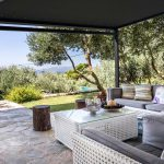 Luxury private villa terrace with view on Mediterranean sea
